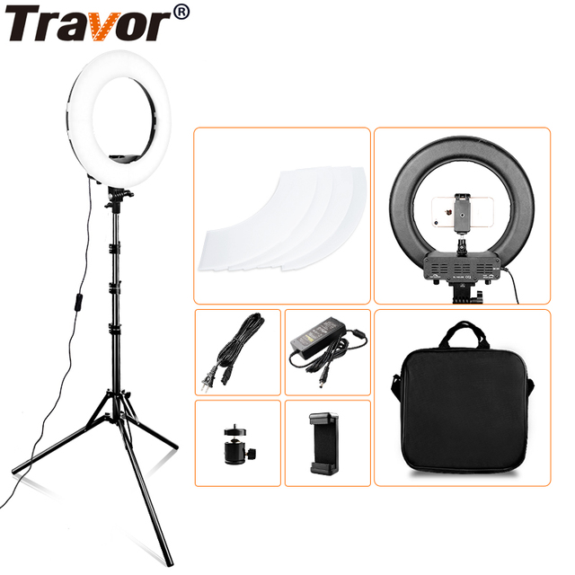 Travor 링 라이트 14 인치 링 램프 dimmable 콜드 및 따뜻한 빛 유튜브 메이크업 사진 ringlight 삼각대와 LED 라이트