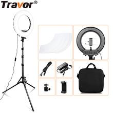 Кольцевой светильник Travor, 14 дюймовый светодиодный светильник с регулируемой яркостью, со штативом, холодным и теплым светом, подходит для съемки макияжа, youtube