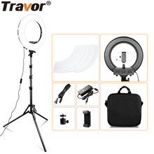 Travor ring light 14inch ring lamp dimmable cold and warm light LED light with tripod for youtube makeup photography ringlight