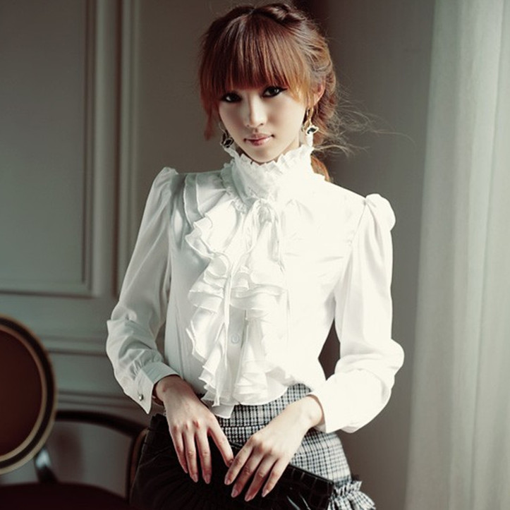 Oversize 5XL Women Lolita Shirt Long Sleeve Stand Collar Chiffon Blouses With Ruffles Ladies Bow Shirt Royal Style Gothic Shirt image
