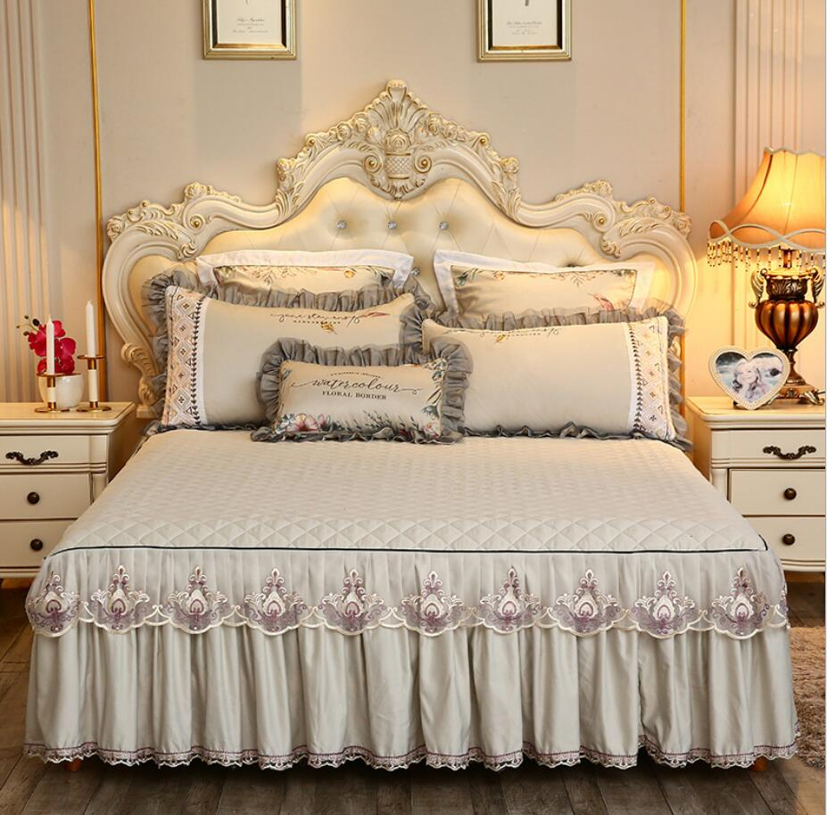 Beige Microfiber Fabric Princess Lace Bedspread Bed Skirt With Cotton Warm Thick Bedding Bed Cover Pillowcase Queen King Size