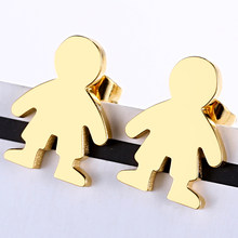 New Fashion Cartoon Cute Boy Stud Earrings For Women Kids Creative Korean 316L Stainless Steel High Quality Female Jewelry Gifts(China)