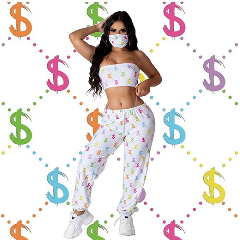 Women Tracksuit With Mask Three Piece Set Women Clothes Off Shoulder Crop Top Pant Mask Casual Outfits Matching F874