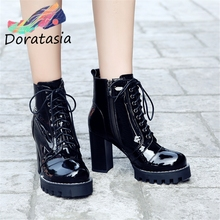 DORATASIA 35-43 Genuine Leather Motorcycle Booties Ladies Black High Platform Ankle Boots Women 2019 High Heels Shoes Woman цена и фото