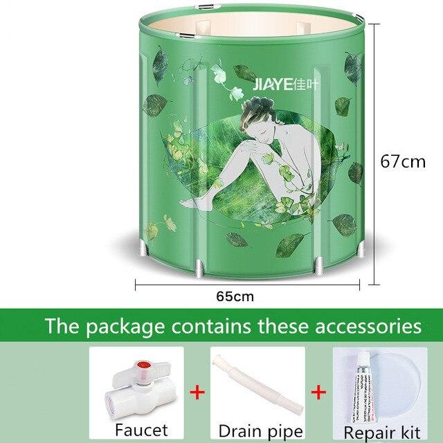 Haute qualité Portable pliable en plastique baignoire épaissie adulte baignoire maison unique SPA Massage piscine robuste seau de bain - 3