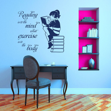 Girl Reading Book Vinyl Wall Sticker For Kids Room Mural Quote Decal Library Bedroom Home Decor Art Poste LW468