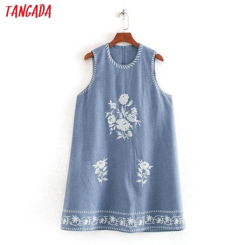 Tangada Fashion Women Embroidery Denim Thin Mini Dress Sleeveless Ladies Vintage Short Dress Vestidos CE233