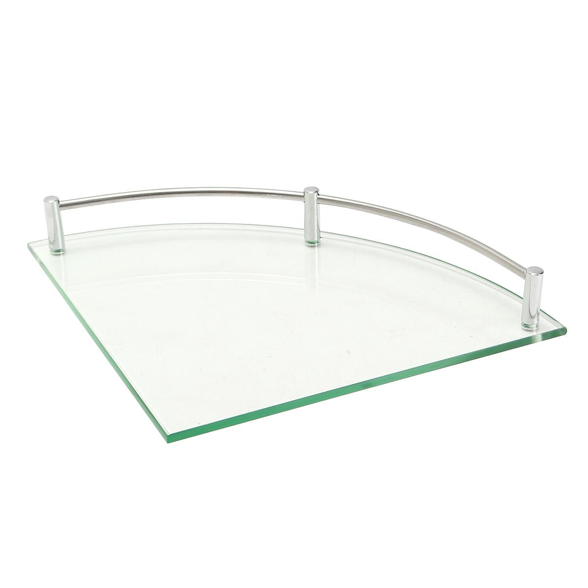 Bathroom Glass Bath Shower Triangular Shelf Holder Organizer Single Layer Modern Style Glass Bathroom Shelves