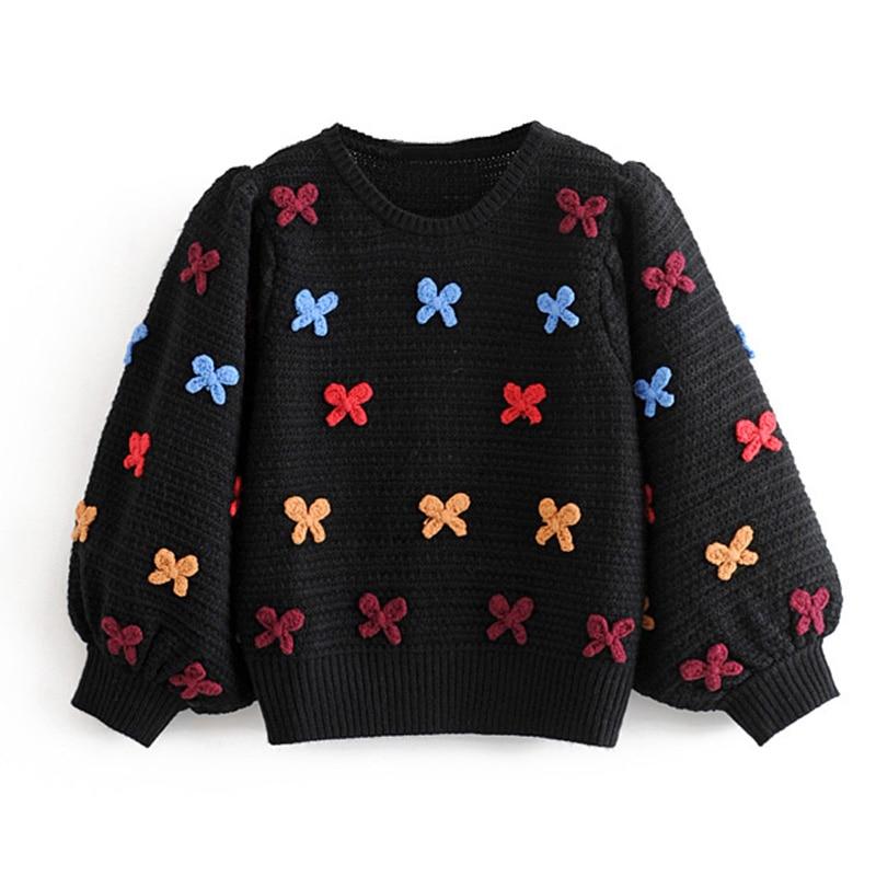 Stylish Bow Embroidery Sweaters Women Fashion O Neck Pullovers Elegant Ladies Three Quarter Puff Sleeve Knitwear
