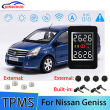 Smart Car TPMS Tire Pressure Monitor System For Nissan Geniss with 4 sensors Wireless Alarm Systems LCD Display TPMS Monitor for nissan sylphy 2016 2019 smart auto driving assistant system car automatic rain wiper sensors