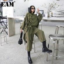 [Eem] geniş bacak pantolon Ruffles büyük boy iki parça takım elbise yeni yaka uzun kollu siyah gevşek kadın moda ilkbahar sonbahar 2021 1Z84706