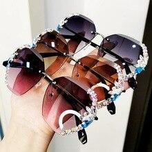 Мужские и женские Винтажные Солнцезащитные очки без оправы, разноцветные брендовые дизайнерские очки со стразами, затемненные очки