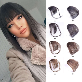 Clip In Blunt Bangs Thin Fake Fringes Natural Straigth Synthetic Neat Hair Bang Accessories For Girls Invisible 4 Colors - discount item  40% OFF Synthetic Hair