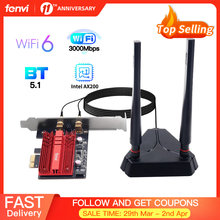 Adaptador de red Wifi inalámbrico Intel AX200 PCIe, 3000Mbps, tarjeta Wi-Fi 2,4G/5Ghz 802.11ac/ax Bluetooth 5,1 para PC de escritorio