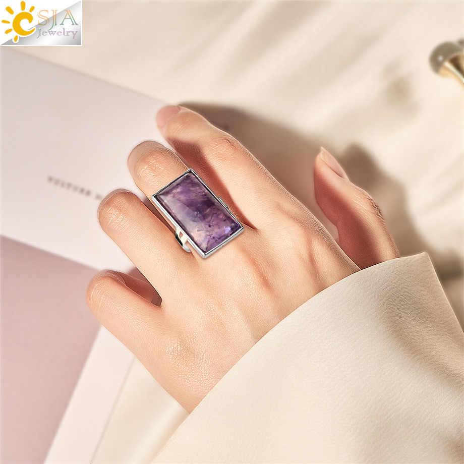 CSJA สี่เหลี่ยมผืนผ้าหินธรรมชาติแหวนเงินปรับได้แหวนคริสตัลสีชมพูควอตซ์ผู้หญิงเครื่องประดับ G456