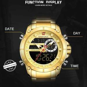 Image 4 - NAVIFORCE Men Military Sport Wrist Watch Gold Quartz Steel Waterproof Dual Display Male Clock Watches Relogio Masculino 9163
