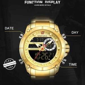 Image 4 - NAVIFORCE – Montre à Quartz de sport pour hommes, accessoire masculin style militaire, acier doré, étanche, double affichage, 9163