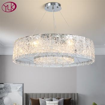 Новое поступление, современный подвесной светильник для гостиной, круглый обеденный стеклянный светодиодный светильник, роскошные серебр...