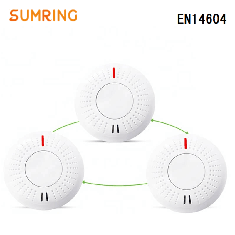 Smoke Detector Interconnected 433Mhz EN14604 Lithium Battery Interlinked Smoke Alarms