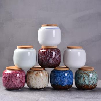 220ml Chinese Style Ceramic Storage Bottle Jar Colorful Tea Caddies Containers Kitchen Portable Travel Candy Coffee Snacks Jar new chinese style tight seal floral white ceramics tea caddies retro kung fu tea jar storage for home or teahouse