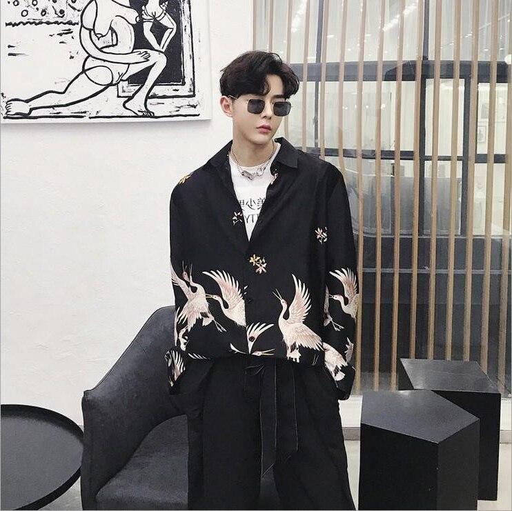 Vacation Lovers Japanese Harajuku Blouse Women Man Kimono Cardigan Causal Blouse Bird Printing Loose Tops Blusas Mujer De Moda