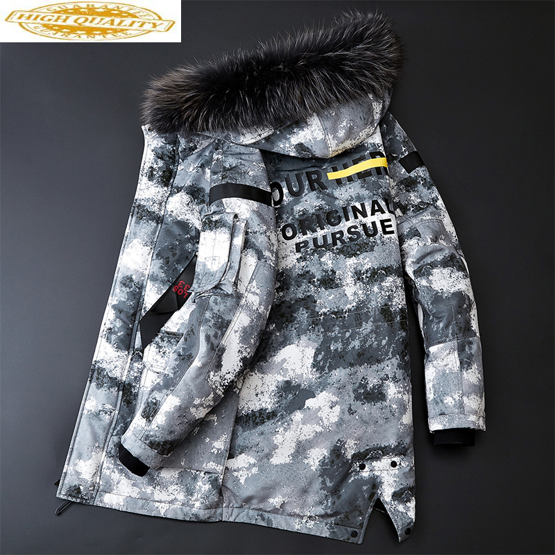 Men's Down Jacket Winter Coat Duck Down Jacket Men Hooded Warm Camouflage Big Size Down Jackets Fur Collar 2020 DPTM089I