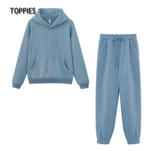 Toppies Autumn Winter Fleece Hoodies Vintage sweatshirt Two Piece Set Woman Tracksuits Jogger Pants thick warm clothes cheap CN(Origin) CH004+CH005 Regular Hooded Full Elastic Waist Ankle-Length Cotton Polyester Full Length WOMEN Casual Pullover