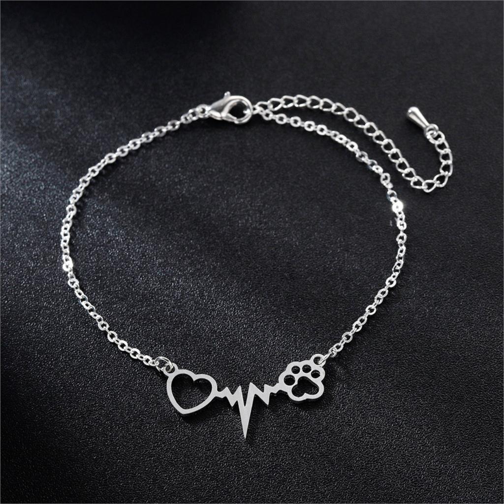 Новые браслеты Kinitial в виде собачьей кошачьей лапы для женщин, подарки для медсестры, врача, ювелирные изделия, браслет дружбы в форме сердца