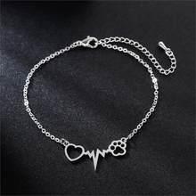 Kinitial novo batimento cardíaco do cão gato pata pulseiras para mulheres pulseiras de pulso presentes para enfermeira doutor jóias amizade coração pulseira