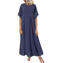 Women's Casual Dress Summer Retro Dot Printing O-neck Loose Ankle-lenght Dress Short Sleeve Sundress Vestidos De Verano Robe(China)
