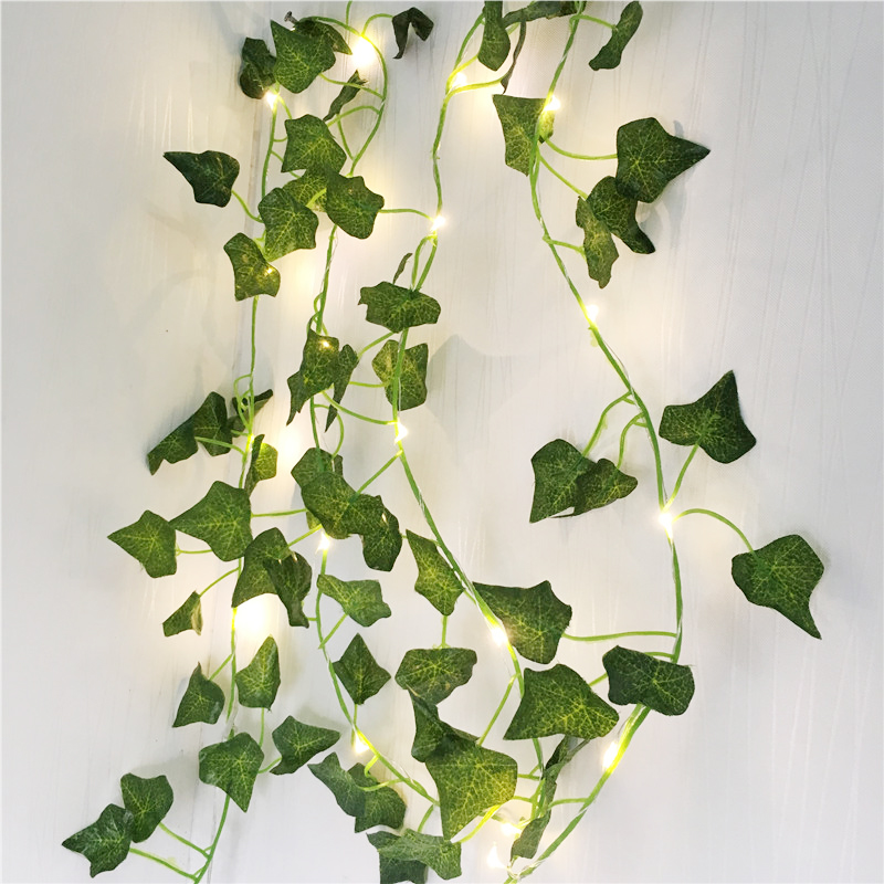 New Creeper Ivy Leaf Flexible String Lighting 2M 20Leds Copper Wire Garland Led String AA Battery Power Christmas Holiday Lights
