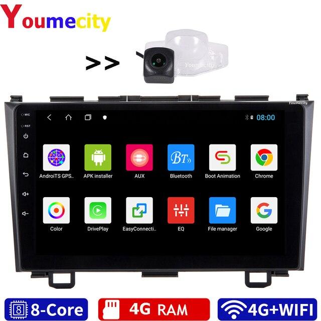 Autoradio Android, 4 go RAM/8 cœurs, avec écran IPS Gps, Wifi, Bluetooth, caméra AHD, lecteur multimédia pour voiture Honda CRV 3 (2006 2011, 2008)