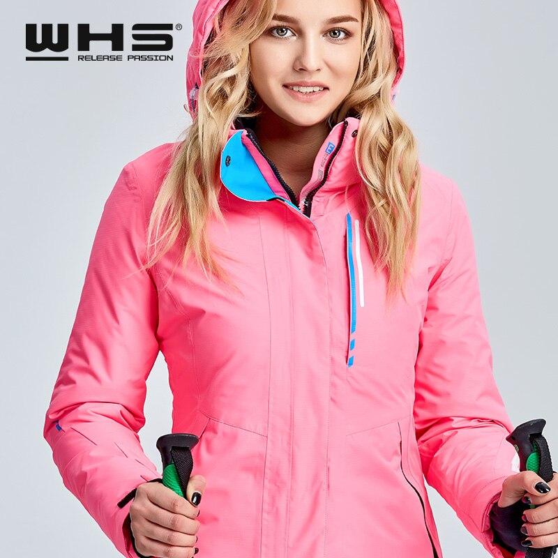 WHS veste de ski pour femmes veste thermique de sports de plein air d'hiver imperméable, coupe-vent et respirant veste en coton - 3