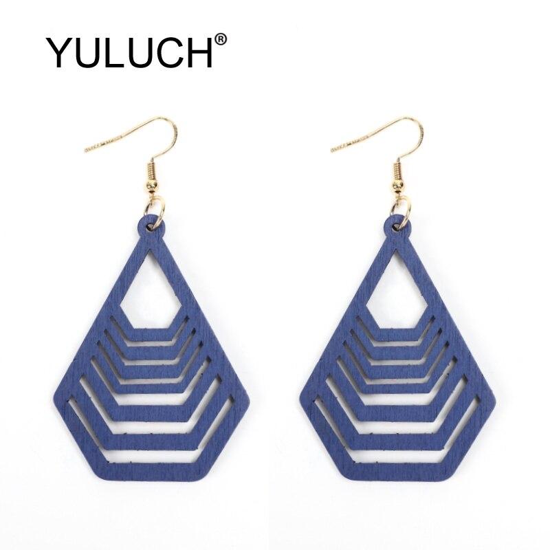 YULUCH 2019 Hollow Wood Drop Earrings 2019 Fashion Jewlery Ethnic African Indian Geometric Long Dangle Earrings For Women Party