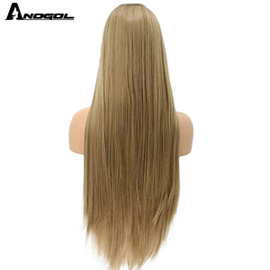 Image 5 - Anogol Natural High Temperature Fiber Long Silky Straight Blonde Ombre Dark Roots Synthetic Lace Front Wig For White Women