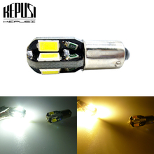 цена на BA9S T4W Car LED Bulbs 8 SMD 5730 LED Reading Side Marker Light License Plate Light Door Lamp Warm White for Car yellow amber