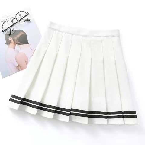 Short skirt female high waist pleated skirt a line skirt college style kawaii skirt female lolita  net red hot sale 6