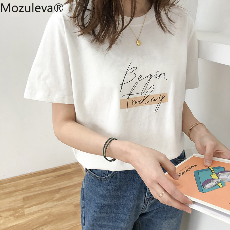 Mozuleva Casual O neck Letter Print Women T shirt 2020 Summer Short Sleeve Loose Female Basic Tops Shirt Ladies Tees 100% Cotton|T-Shirts| - AliExpress