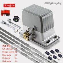 Motores de puerta corrediza eléctrica de 1800 kg/abrepuertas automático con bastidores de acero de 4 m, kit de control remoto de lámpara de fotocélula opcional