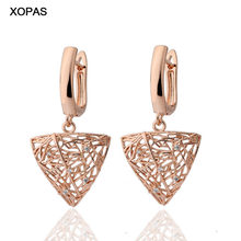 XOPAS 585 Rose Gold Color Luxury Hollow Triangular shape Drop Earrings for Women Charming Fashion Statement Modern Jewelry(China)