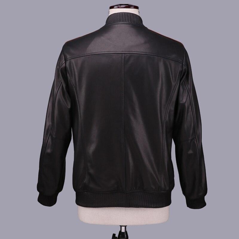Geniune Leather Jacket Men Sheepskin Leather Bomber Jacket Spring Autumn Quality Outwear Veste Homme 16-H21# MF396