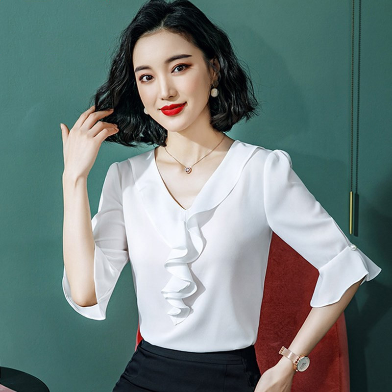 Chiffon Blouse New <font><b>Women</b></font> Tops half Sleeve V-Neck Work Wear Shirts Elegant Lady Casual Blouses <font><b>women's</b></font> blusas <font><b>Plus</b></font> <font><b>size</b></font> <font><b>7XL</b></font> 8XL image