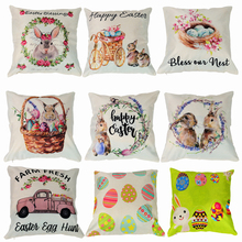 цена на 45x45cm Cotton Linen Easter Cover Cushion Easter Decor for Home Happy Easter Day Decor 2020 Rabbit Eggs Pillowcase Party Gift