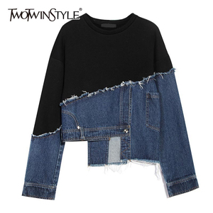 TWOTWINSTYLE Pacthwork Denim Asymmtrical Sweatshirt For Female O Neck Long Sleeve Loose Hit Color Hoodies Women 2020 Fashion New