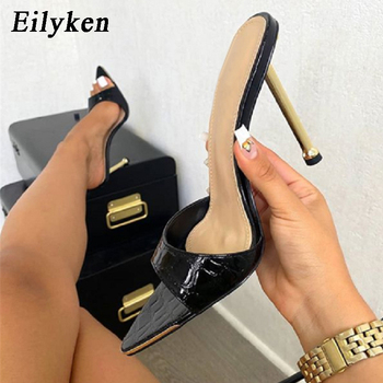 Eilyken Women slippers Snake Print Strappy Mule high heels Slippers Sandals flip flops Pointed toe Slides Party shoes Woman 1