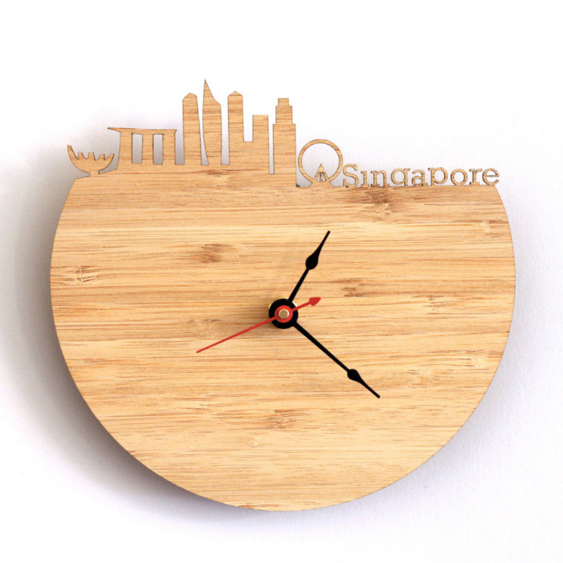 Singapore Bamboo Wall Clock - Decorate Your Home With Modern Art Skyline Design - Best Gift For Girlfriend Natural Wall Clock
