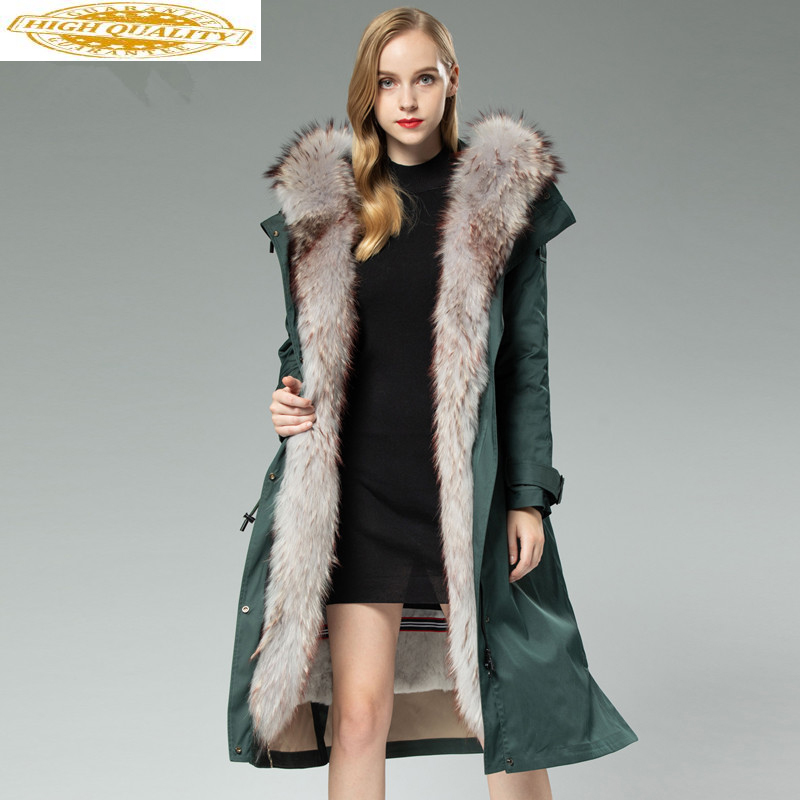 Winter Jacket Women Parka Real Fur Coat Female Rabbit Fur Liner Warm Long Jacket Women Raccoon Fur Collar Outwear MY4367