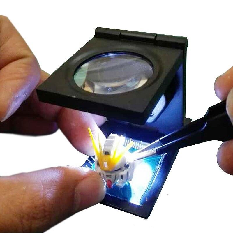 Modelo de mesa de transformación lupa multifuncional de Metal 10 veces aumento plegable con escala + lámpara|Sets de herramientas de construcción de maquetas|   - AliExpress