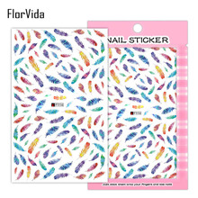 FlorVida F056 Adhesive Nail Art Stickers Flowers Feather Decals Phiz Cartoon Sticker for Kids On Nails F Series Manicure