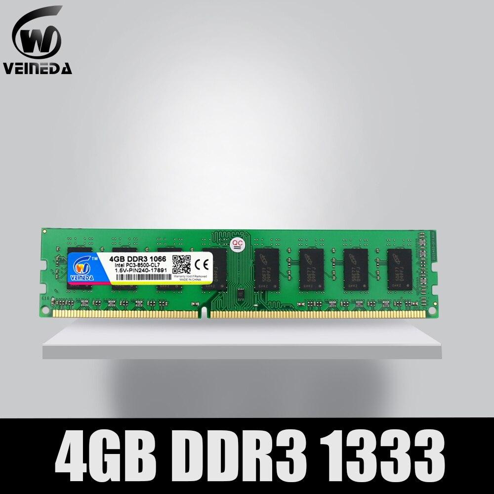VEINEDA 3 PC3-10600 DDR3 4 gb 1333Mhz ddr Dimm Ram Compatível 1066, 1600 Memória 240pin para Todos AMD Intel Desktop